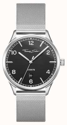 Thomas Sabo | Stainless Steel Silver Mesh Bracelet | Black Dial | WA0339-201-203-40