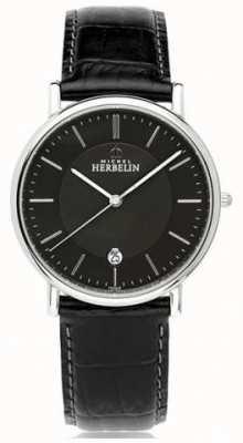 Michel Herbelin Mens Classique Black Leather Strap Black Dial 12248/14