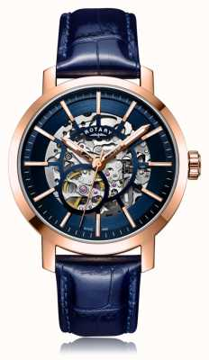 Rotary | Gents Blue Leather Strap | Rose Gold Case | GS05354/05