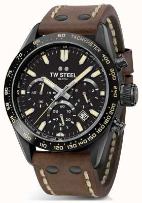 TW Steel | Gents Brown Leather Strap | Black Chronograph | CHS1