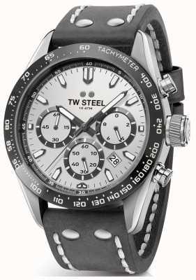TW Steel | Gents Dark Grey Leather Strap | Silver Dial | CHS3