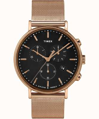 Timex | Fairfield Chrono Black Dial | Rose Gold Tone Case | TW2T37100D7PF
