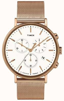 Timex | Fairfield Chrono White Dial | Rose Gold Tone Case | TW2T37200D7PF
