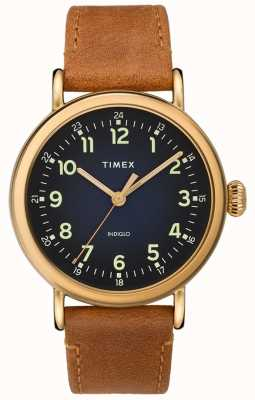 Timex | Gents Tan Leather Strap | Blue Dial | TW2T20000D7PF