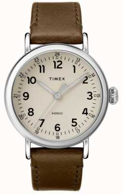 Timex | Mens Olive Leather Strap | Grey Dial | TW2T20100D7PF