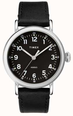 Timex | Mens Black Leather Strap | Black Dial | TW2T20200D7PF