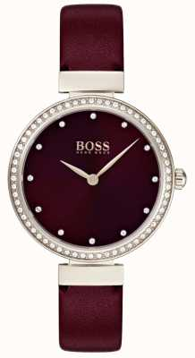 Boss | Ladies Burgundy Leather Strap | 1502481