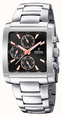 Festina | Mens Stainless Steel Chronograph | Black/Rose Dial | F20423/4