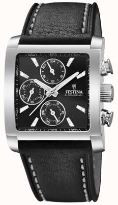 Festina | Mens Stainless Steel Chronograph | Black Leather Strap | F20424/3