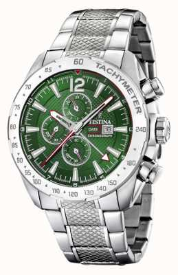 Festina | Mens Chronograph & Dual Time | Green Dial | Steel Bracelet F20439/3