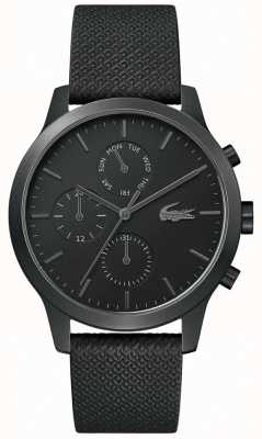 Lacoste | Mens 12-12 | Black Leather Strap | Black Dial | 2010997