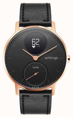 Withings Steel HR 36mm Rose Gold Black Leather (+Black Silicone Band) HWA03B-36BLACK-RG-L.BLACK-ALL-INTER