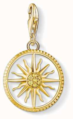 Thomas Sabo Charm Pendant 925 Silver Yellow Gold Plated Circle Sun Cz 1765-414-4