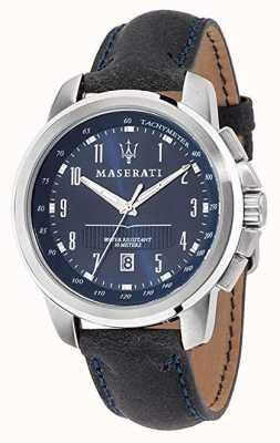 Maserati Successo Blue Dial Dark Blue Leather Strap R8851121003