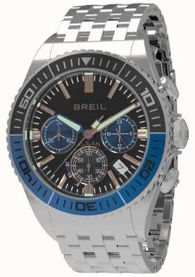 Breil | Mens Manta 1970 Solar | Black Dial | Black/Blue Bezel | TW1820