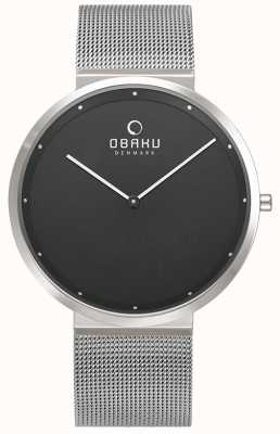 Obaku | Mens Papir Onyx | Silver Mesh Bracelet | Black Dial | V230GXCBMC