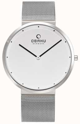 Obaku | Mens Papir Steel | Silver Mesh Bracelet | White Dial | V230GXCWMC