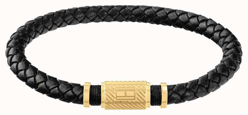 Tommy Hilfiger   Mens Black Braided Leather Bracelet   Gold Clasp   2790082