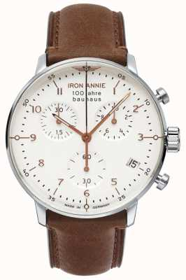 Junkers Iron Annie | Bauhaus | Chrono | White Dial | Brown Leather 5096-4