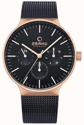 Obaku   Mens Mos Night   Black Mesh Strap   Black Chronograph Dial V229GMVBMB
