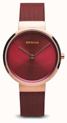 Bering Womens | Classic | Red PVD Plated Steel Mesh Bracelet 14531-363