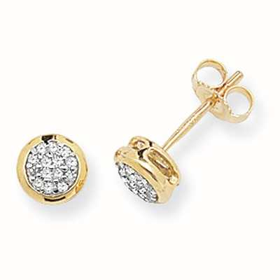 Treasure House 9k Yellow Gold Diamond Pave Stud Earrings DE153