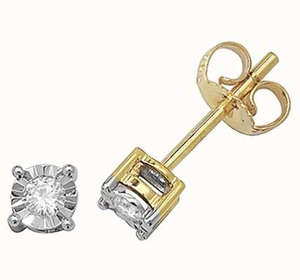 Treasure House 9k Yellow Gold Diamond Illusion Set Stud Earrings ED143