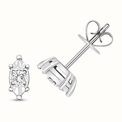 Treasure House 9k White Gold Diamond Illusion Marquise Stud Earrings ED337W