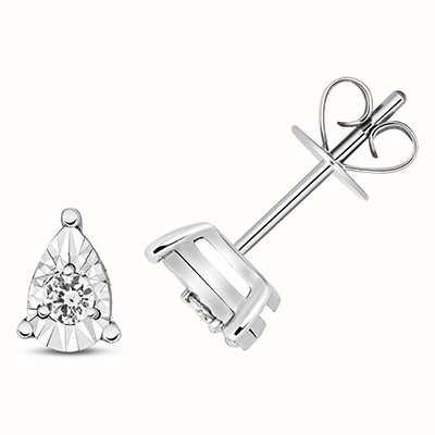 Treasure House 9k White Gold Diamond Illusion Pear Stud Earrings ED338W
