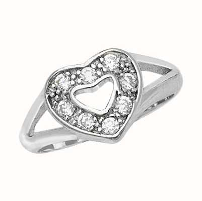 Treasure House Silver Ladies Cubic Zirconia Heart Ring G7519