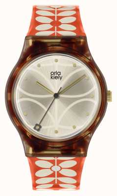Orla Kiely | Womens Bobby Watch | Black Case | 60's Stem Print Strap | OK2316
