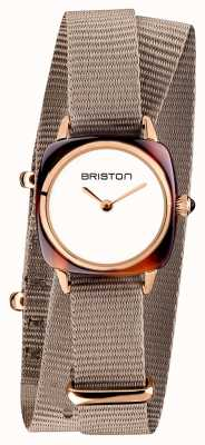 Briston | Clubmaster Lady | Single Taupe Nato Strap | Rose Gold PVD 19924.PRA.T.2.NT - SINGLESTRAP