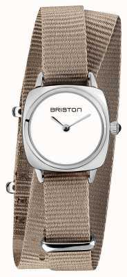 Briston | Clubmaster Lady | Single Taupe Nato Strap | White Dial | 19924.S.M.2.NT