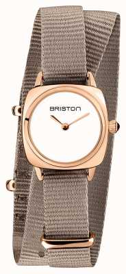 Briston | Clubmaster Lady | Single Taupe Nato | Rose Gold PVD Case | 19924.SPRG.M.2.NT - SINGLESTRAP