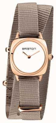 Briston | Clubmaster Lady | Single Taupe Nato | Rose Gold PVD Case | 19924.SPRG.M.2.NT