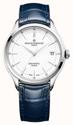 Baume & Mercier | Mens Clifton | Baumatic | Blue Leather | White Dial | M0A10398