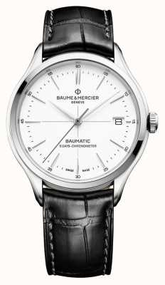Baume & Mercier | Mens Clifton | Baumatic | Black Leather | White Dial | M0A10436