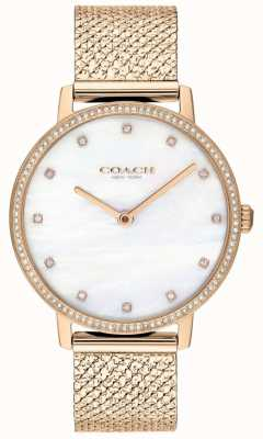 Coach | Womens | Audrey | Rose Gold PVD Mesh | Pearl Dial | 14503360