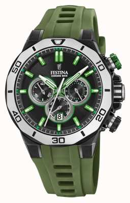 Festina Chrono Bike 2019 | Green Rubber Strap | Black Dial F20450/4
