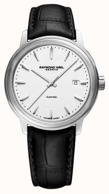 Raymond Weil | Mens Maestro | Auto | Black Leather Strap | White Dial | 2237-STC-30011