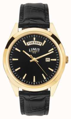 Limit | Mens Black Leather Strap | Black Dial | Gold Case | 5750.01