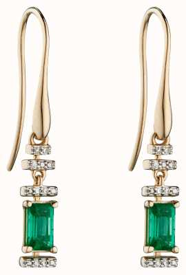 Elements Gold 9k Yellow Gold Emerald and Diamond Deco Drop Earrings GE2304G