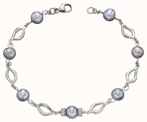 Elements Gold 9k White Gold Grey Pearl And Diamond Bracelet GB474H