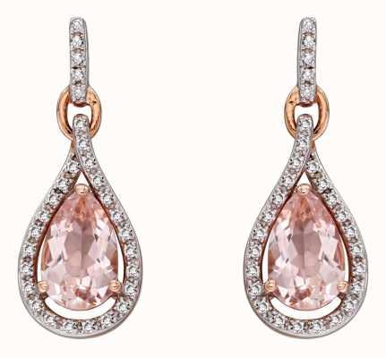 Elements Gold 9k Rose Gold Morganite And Diamond Teardrop Earrings GE2272P