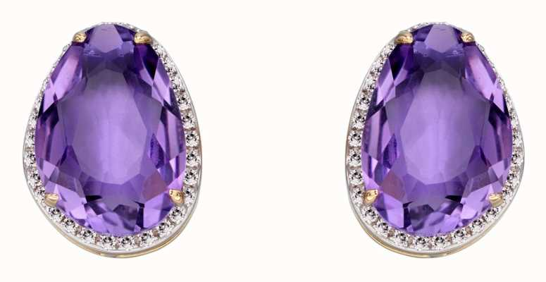 Elements Gold 9k Yellow Gold Amethyst Diamond Stud Earrings GE2273M