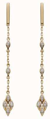 Elements Gold 9k Yellow Gold Deco Diamond Drop Earrings GE2277