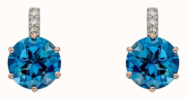 Elements Gold 9k Rose Gold London Blue Topaz Diamond Earrings GE2282L