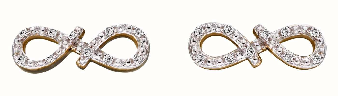 Elements Gold 9k Yellow Gold Diamond Infinity Stud Earrings GE2286
