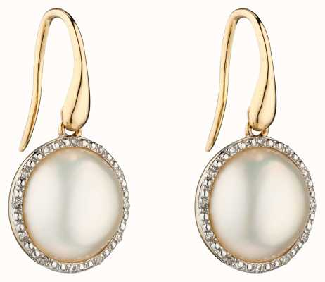 Elements Gold 9k Yellow Gold Diamond And Pearl Drop Earrings GE2287W