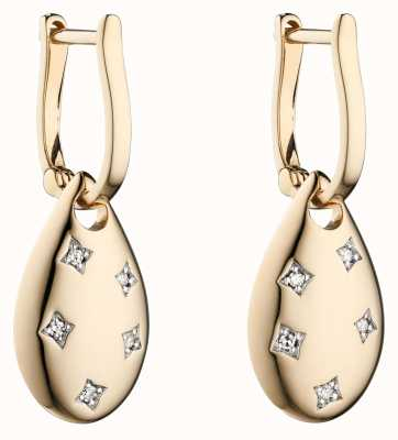 Elements Gold 9k Yellow Gold Cut Out Diamond Drop Earrings GE2299